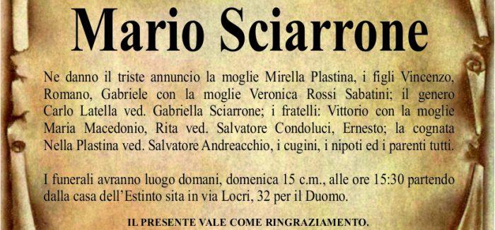 Gioia Tauro, è morto Mario Sciarrone Domani, alle 15.30, i funerali