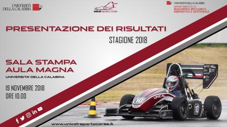 Unical Reparto Corse presenta risultati stagione 2018 Grandi risultati per il progetto dell'Università della Calabria nato nel 2005