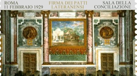 Firma Patti Lateranensi, francobollo di Poste Italiane Stampato dall'Istituto Poligrafico e Zecca dello Stato