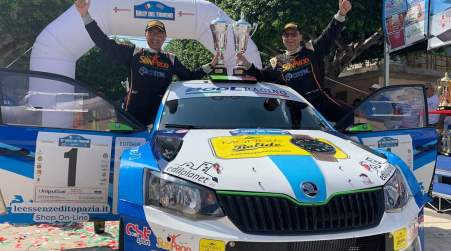 Rally del tirreno di Messina (Sicilia) Vince la Skoda Fabia R5 di Totò Riolo e Gianfranco Rappa 16 ° Rally del Tirreno