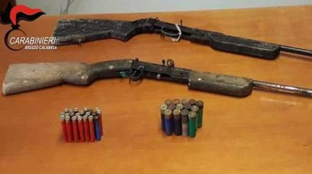 Sequestrati fucili e munizioni occultati tra la vegetazione Continui controlli da parte dei Carabinieri nel territorio reggino